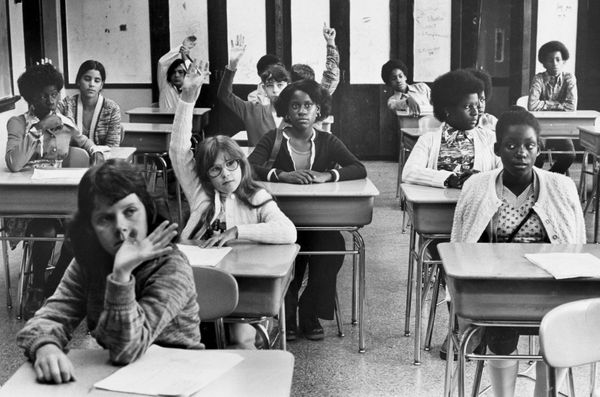 Students at the Mary E. Curley School in Boston on Sept. 8, 1975.
