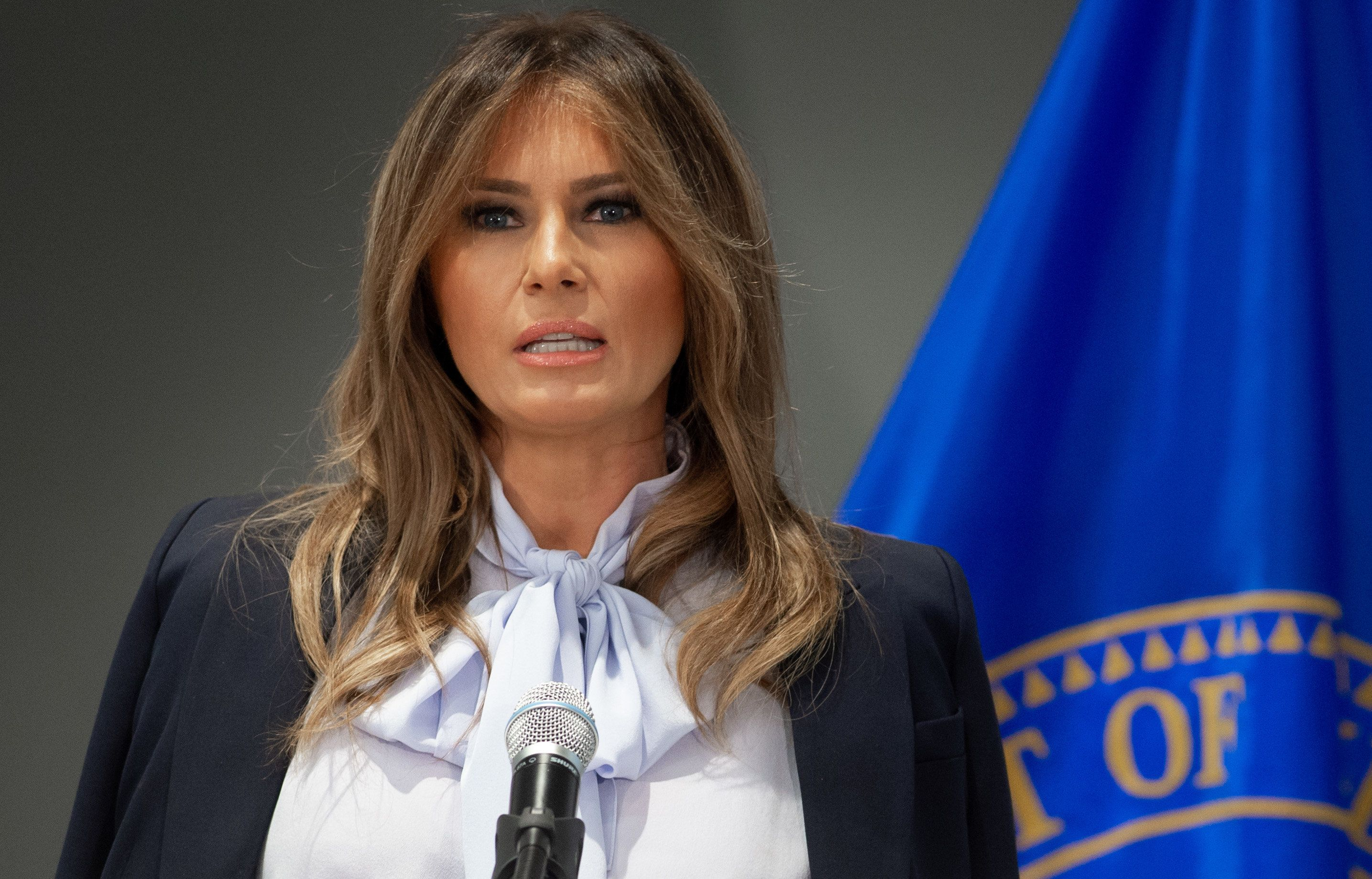 US First Lady Melania Trump speaks during the Federal Partners in Bullying Prevention (FPBP) Cyberbullying Prevention Summit at the US Health Resources and Services Administration building in Rockville, Maryland, August 20, 2018, as part of her 'Be Best' campaign. (Photo by SAUL LOEB / AFP)        (Photo credit should read SAUL LOEB/AFP/Getty Images)