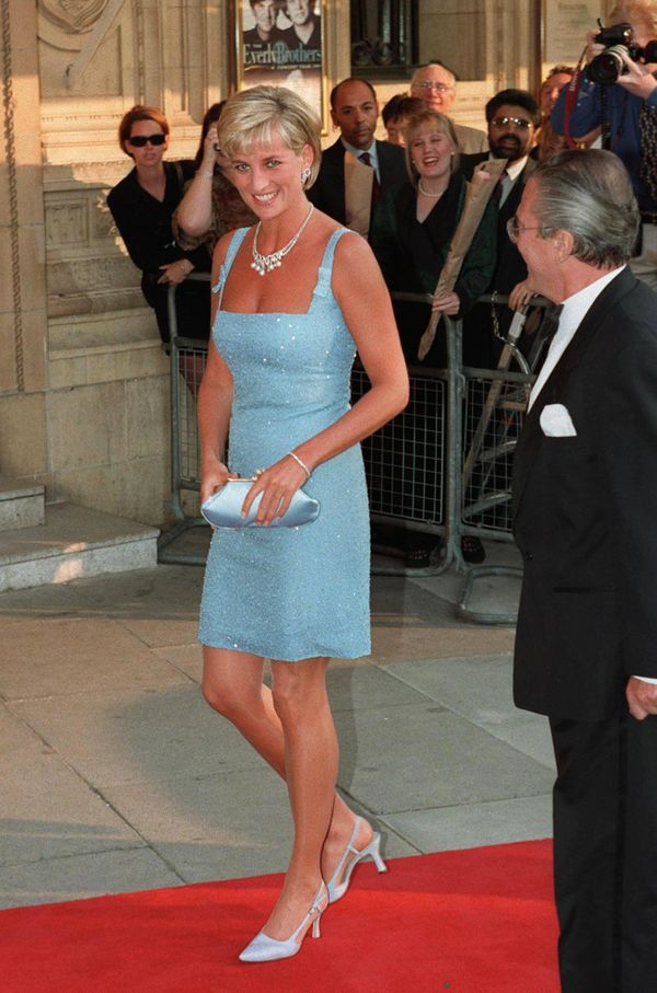 """Princess Diana wore this blue dress to London's Royal Albert Hall to watch a performance of """"Swan Lake"""" by the English Nation"""