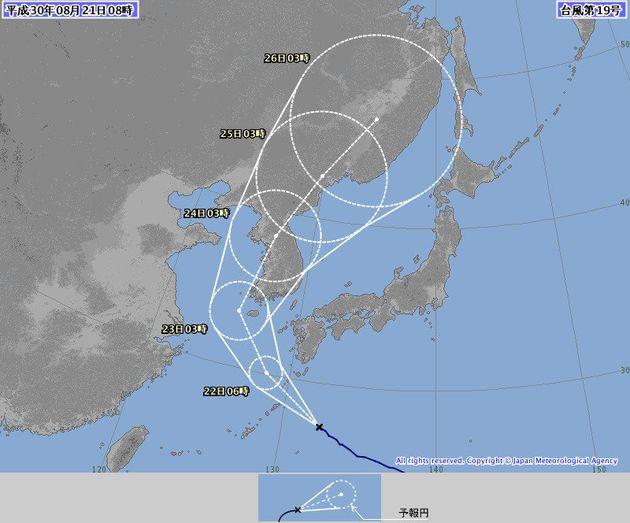 일본 기상청의 21일 오전 8시 현재 태풍 '솔릭'의 예상