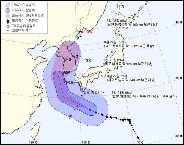 기상청이 21일 오전 10시 현재 예측한 제19호 태풍 '솔릭'의 예상