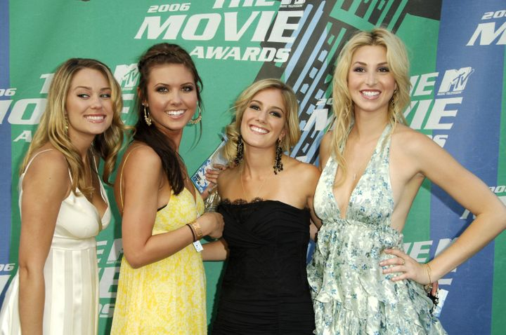 "Lauren Conrad, Audrina Patridge, Heidi Montag and Whitney Port of ""The Hills"" at the 2006 MTV Movie Awards."