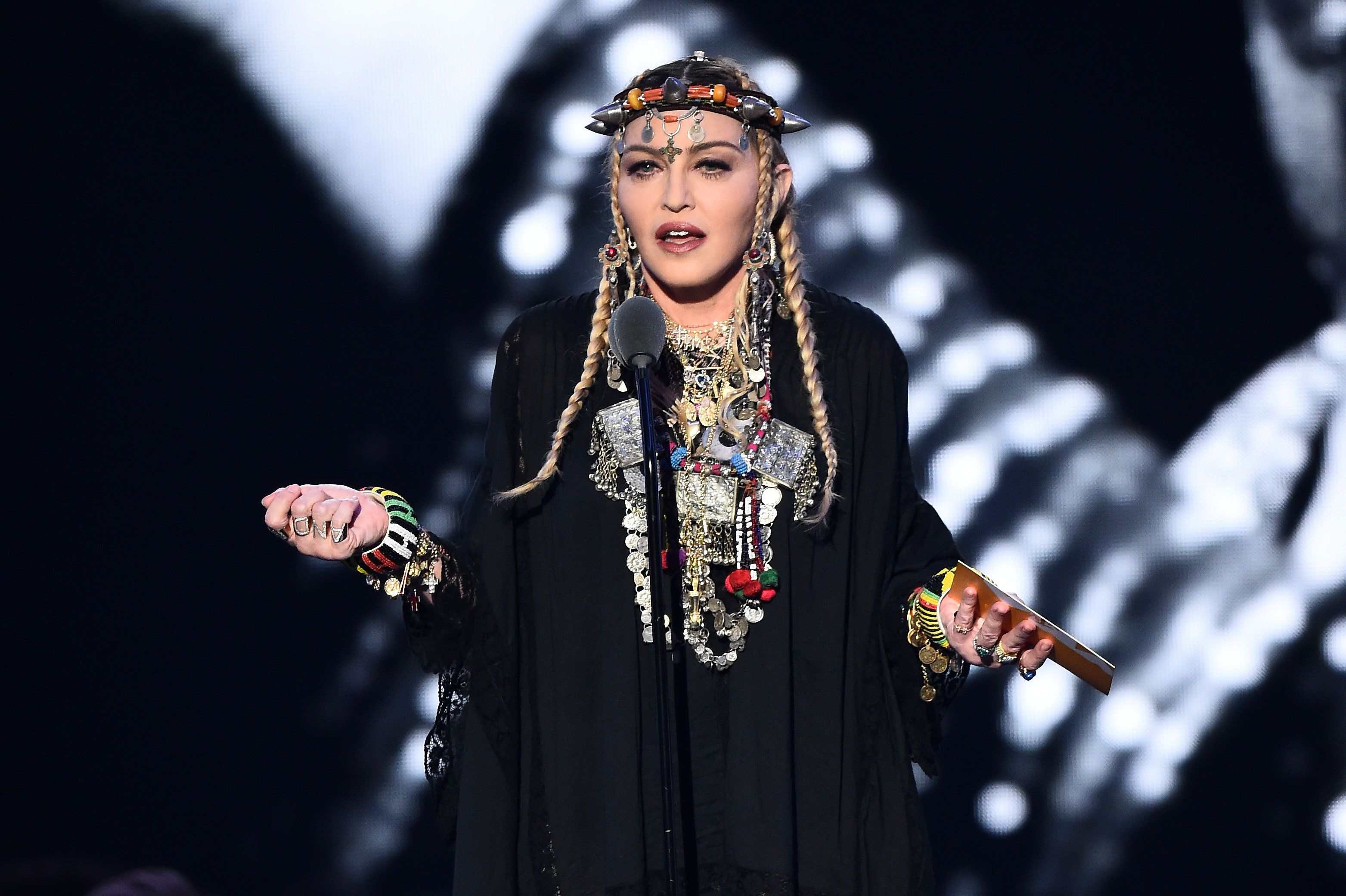 NEW YORK, NY - AUGUST 20:  Madonna presents the award for Video of the Year onstage during the 2018 MTV Video Music Awards at Radio City Music Hall on August 20, 2018 in New York City.  (Photo by Michael Loccisano/Getty Images for MTV)
