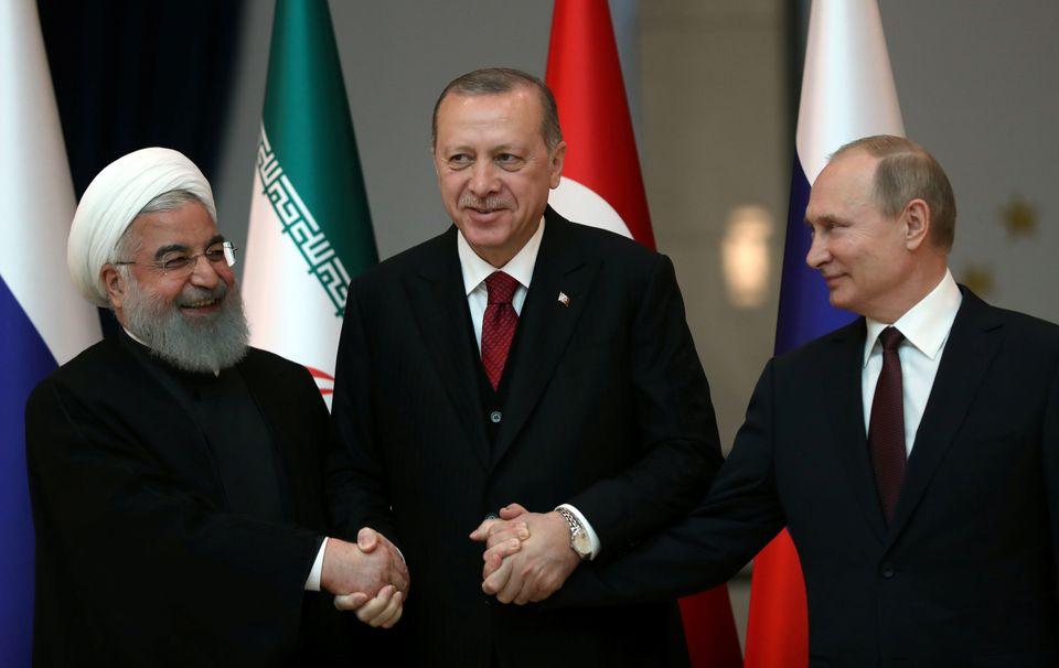 Irans Präsident Hassan Rohani, Erdogan und der Russe Wladimir