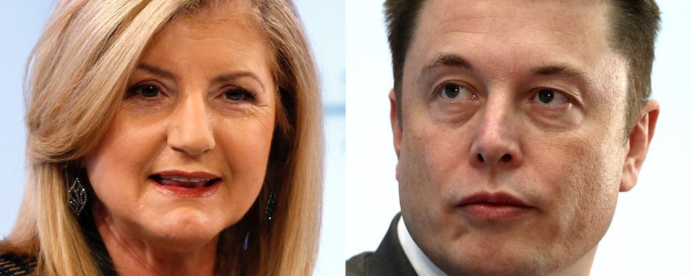 Arianna Huffington (left), the co-founder of the HuffPost, is urging Elon Musk (right) to prioritize sleep in his life.