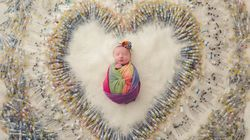 Powerful Photo Of Rainbow Baby Surrounded By Needles Captures One Couple's Struggle To
