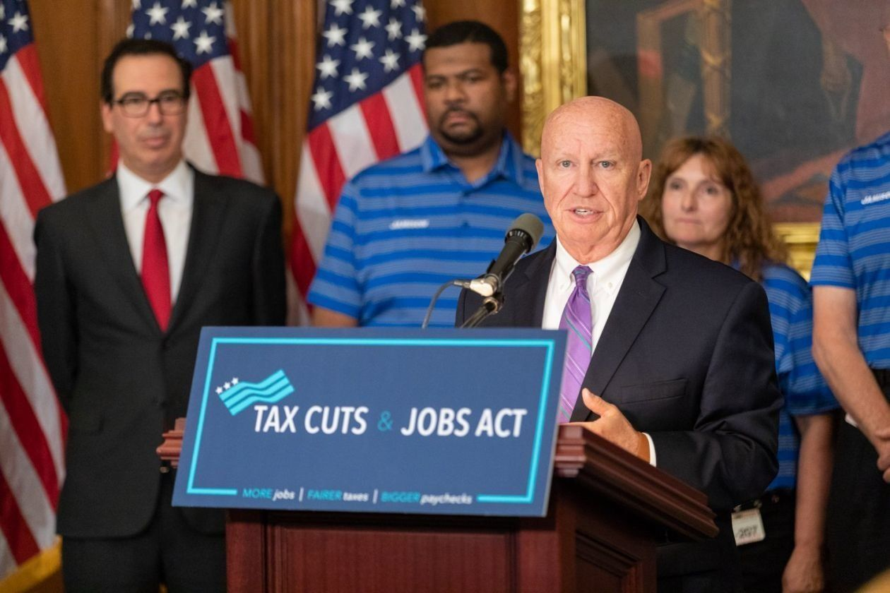 Kevin Brady, chairman of the Ways and Means committee, speaks on the six-month anniversary of the tax cuts law on June 20, 20