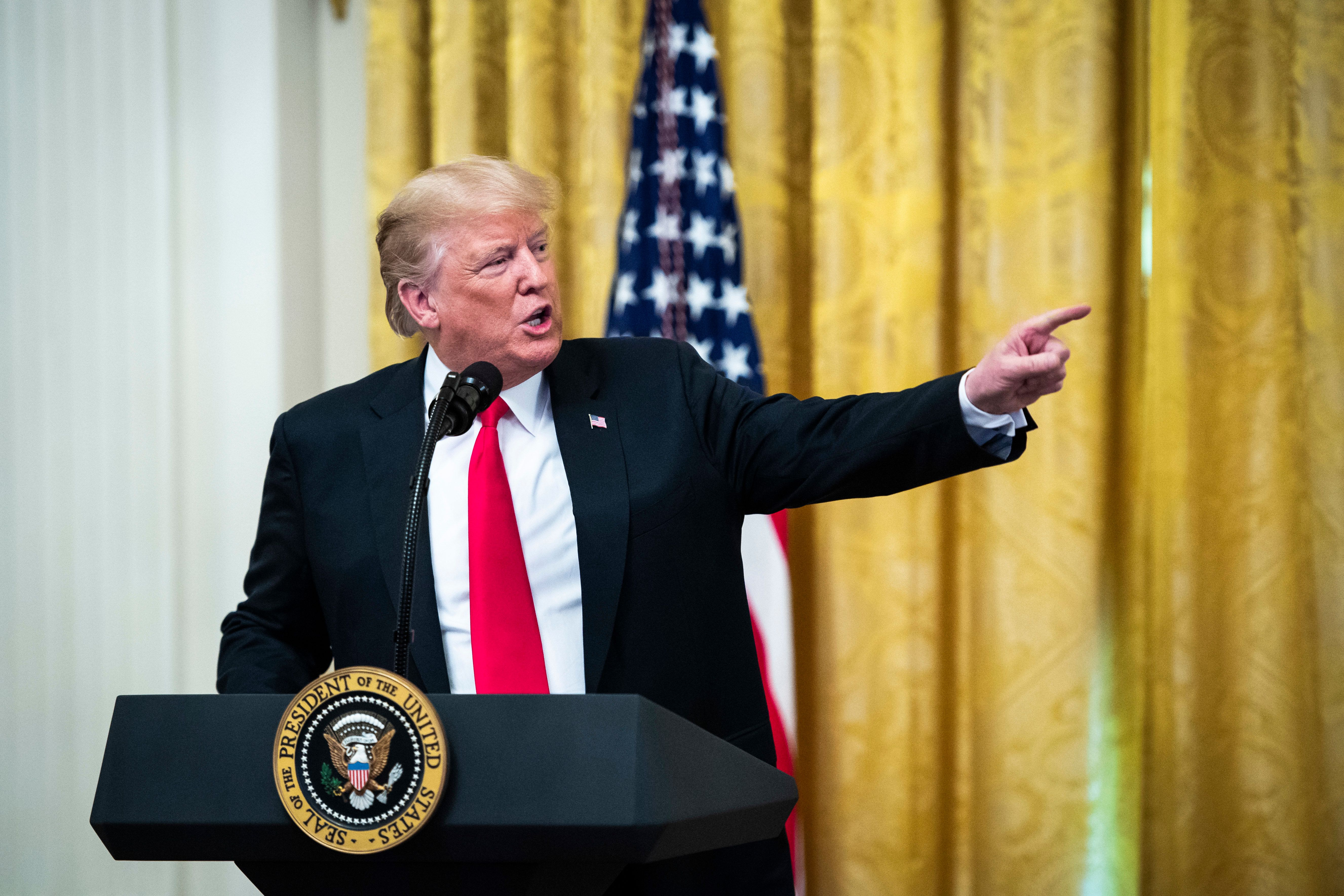 WASHINGTON, DC - AUGUST 20 : President Donald J. Trump speaks during a 'Salute to the Heroes of the Immigration and Customs Enforcement and Customs and Border Protection' event in East Room of the White House on Monday, Aug 20, 2018 in Washington, DC. (Photo by Jabin Botsford/The Washington Post via Getty Images)