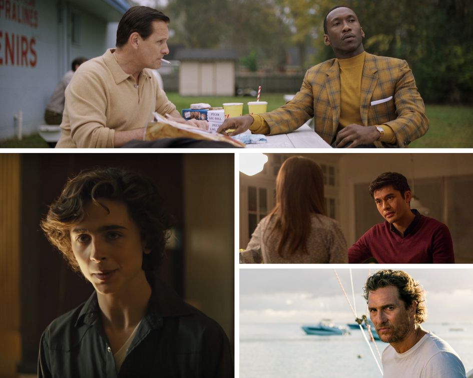 "Clockwise from top: ""Green Book,"" ""A Simple Favor,"" ""Serenity"" and ""Beautiful Boy."""