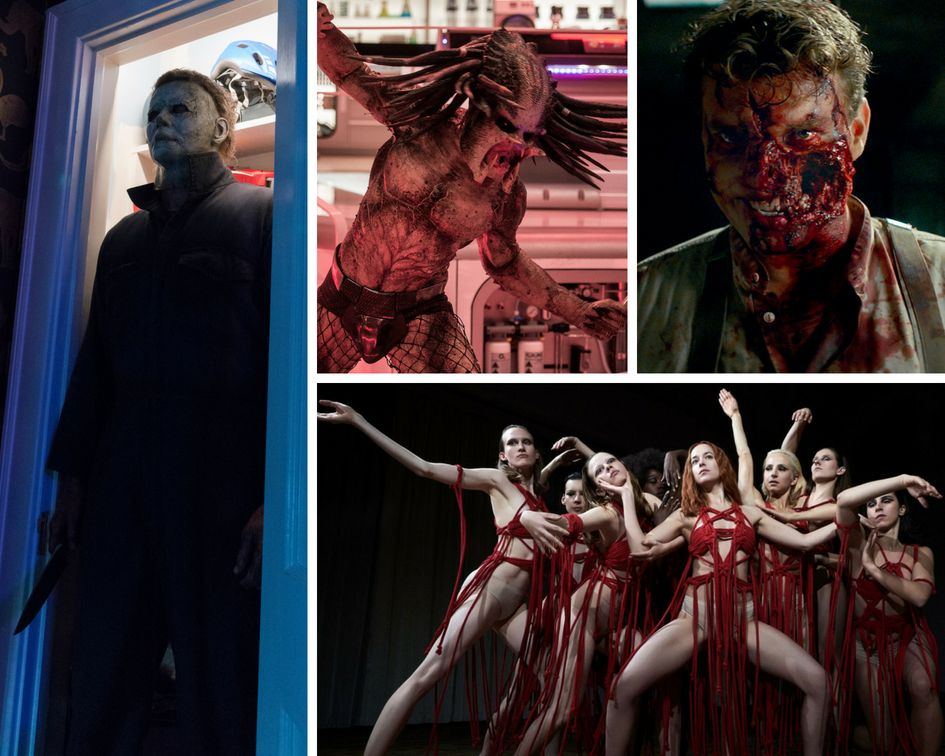 "Clockwise from left: ""Halloween,"" ""The Predator,"" ""Overlord"" and ""Suspiria."""
