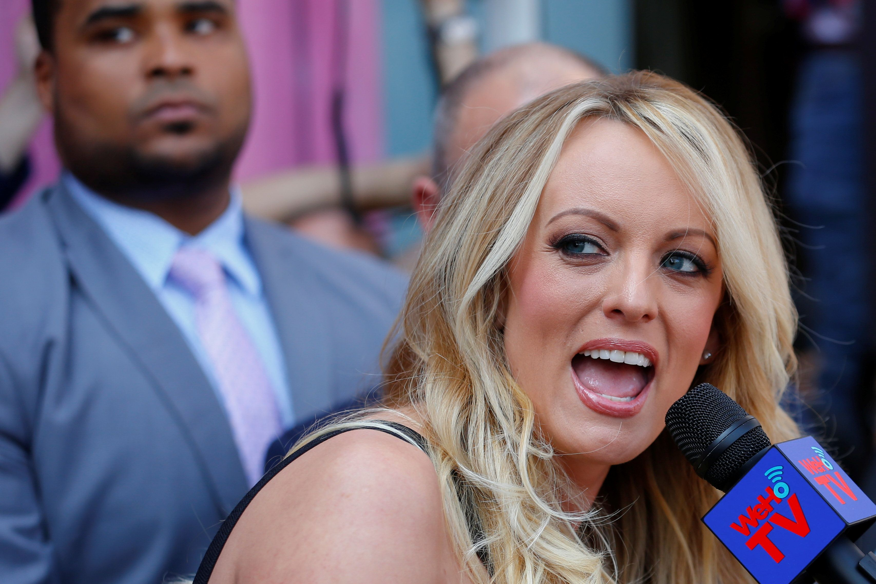 Stormy Daniels, the porn star currently in legal battles with U.S. President Donald Trump, speaks during a ceremony in her honor in West Hollywood, California, U.S., May 23, 2018.  REUTERS/Mike Blake