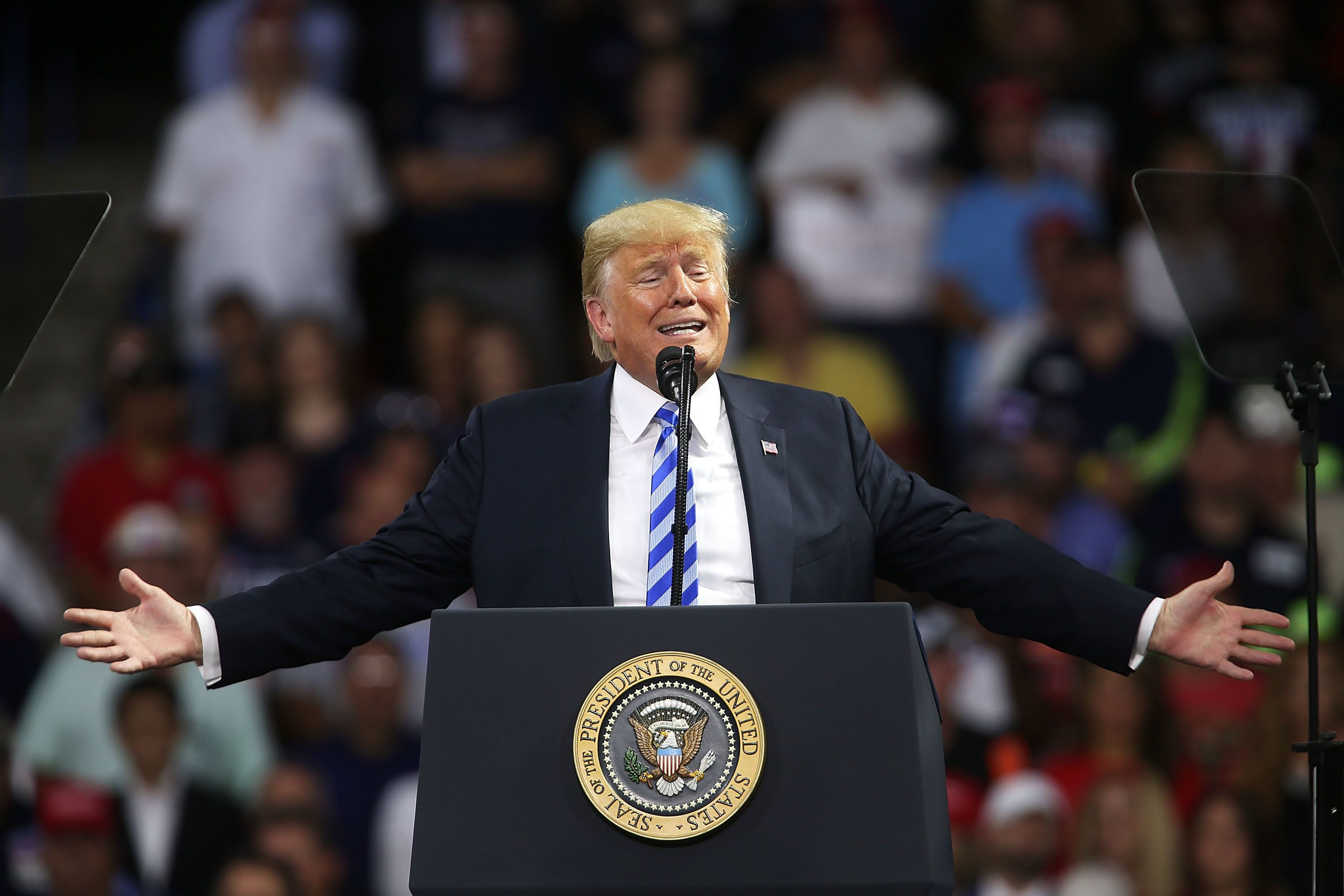 CHARLESTON, WV - AUGUST 21:  President Donald Trump speaks a rally at the Charleston Civic Center on August 21, 2018 in Charleston, West Virginia. Paul Manafort, a former campaign manager for Trump and a longtime political operative, was found guilty in a Washington court today of not paying taxes on more than $16 million in income and lying to banks where he was seeking loans.  (Photo by Spencer Platt/Getty Images)