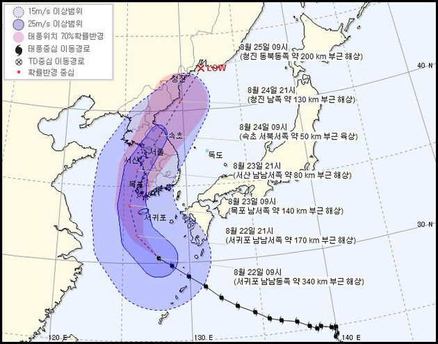 기상청이 22일 오전 10시 현재 예측한 태풍 '솔릭'의 예상