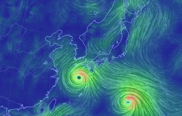 어스널스쿨(earth.nullschool.net)에 나타난 22일 오전 11시 현재 태풍 '솔릭' 진행 상황
