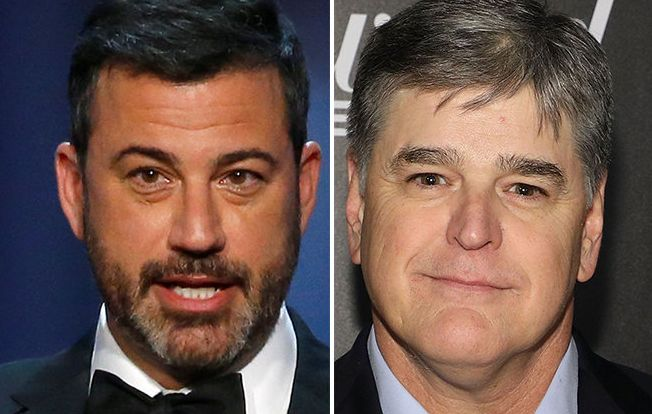 """Jimmy Kimmel, left, called Sean Hannity, right, a """"lunatic"""" in a new interview."""