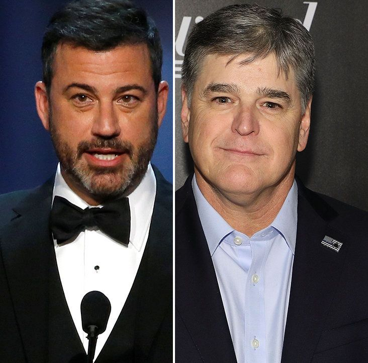 "Jimmy Kimmel, left, called Sean Hannity, right, a ""lunatic"" in a new interview."
