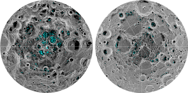 The image shows the distribution of surface ice at the Moon's south pole (left) and north pole...