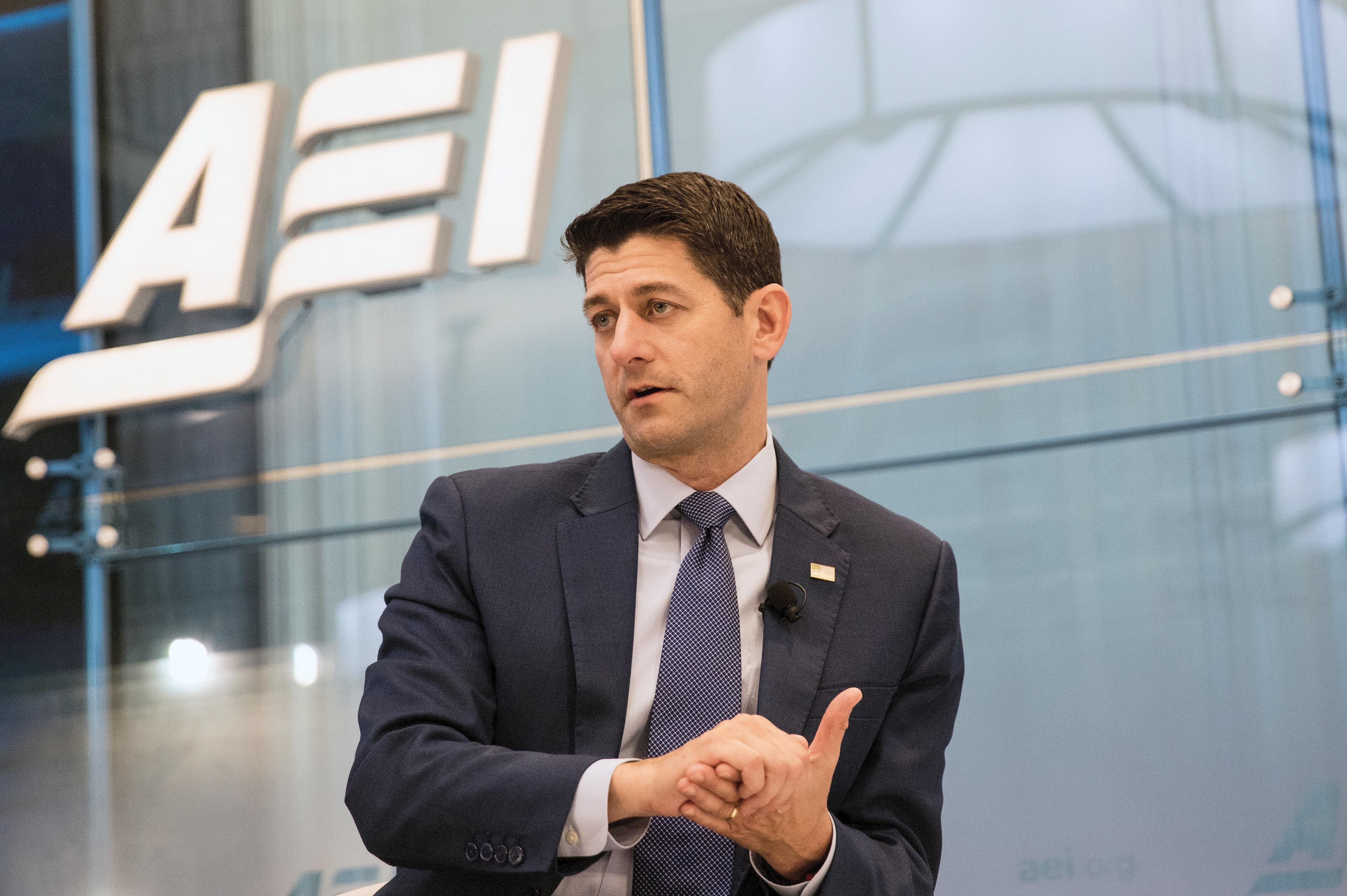 U.S. House Speaker Paul Ryan (R-WI) speaks at the U.S. House American Enterprise Institute forum in Washington, U.S., July 19, 2018. REUTERS/Alex Wroblewski