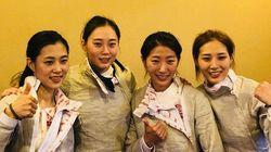 한국 펜싱 여자 사브르팀이 아시안게임 단체전 금메달을