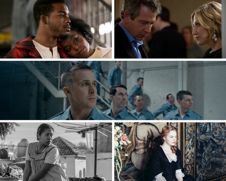 "Clockwise from top left: ""If Beale Street Could Talk,"" ""The Land of Steady Habits,"" ""First Man,"" ""The Favourite"" and ""ROMA."""