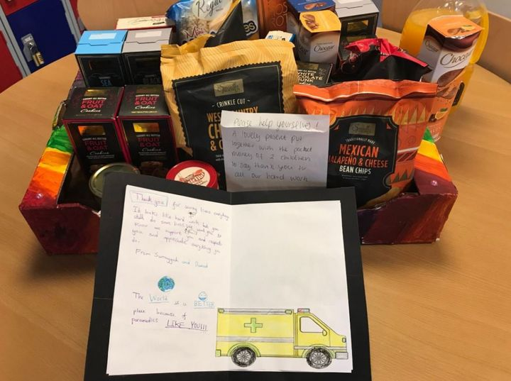Staff were treated to a hamper of goodies bought by two local school kids.