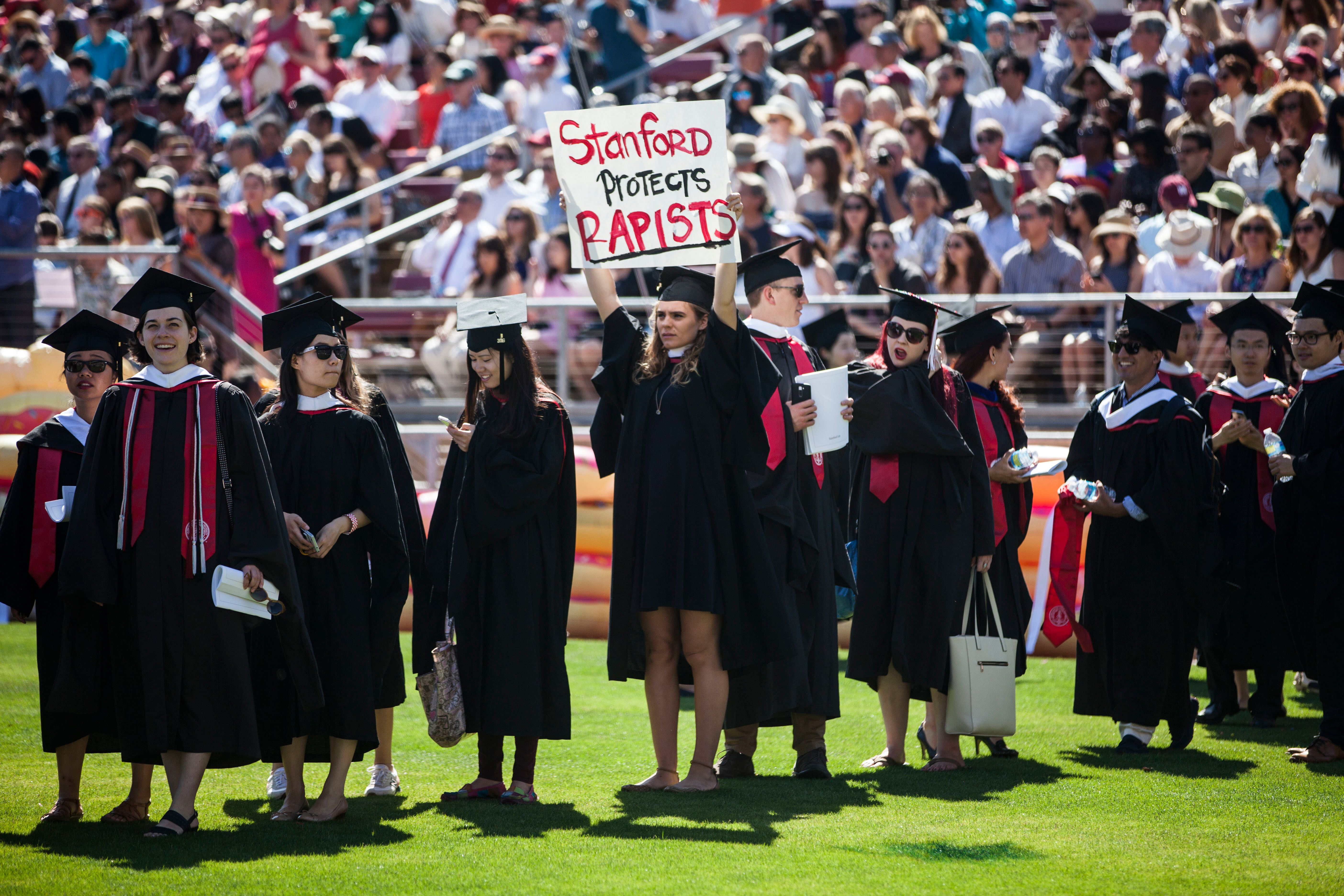 A Stanford student during the university's commencement ceremony on June 12, 2016, after the Brock Turner rape case. An