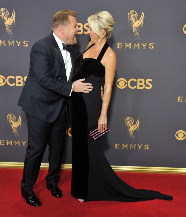 Corden and his wife, Julia Carey, have three children. Above, the couple poses at the 2017 Emmys while Carey was pregnant with their youngest child.