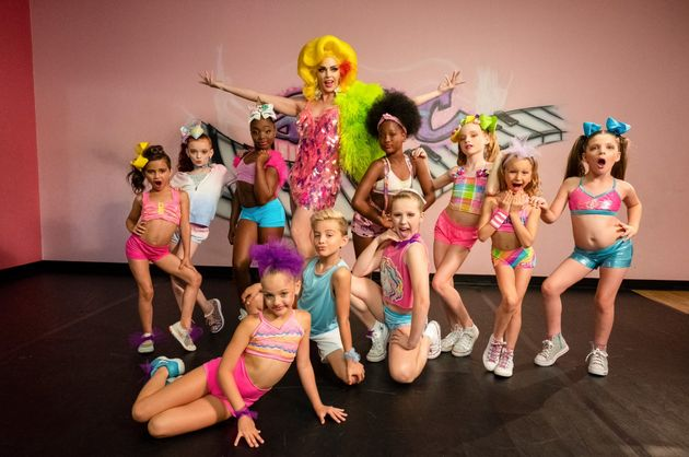 Alyssa and her dance students in a publicity photo for 'Dancing