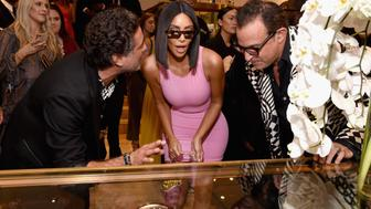 BEVERLY HILLS, CA - AUGUST 21:  (L-R) What Goes Around Comes Around Co-Founder Gerard Maione, Kim Kardashian West, and What Goes Around Comes Around Co-Founder Seth Weisser attend Christie's x What Goes Around Comes Around 25th Anniversary Auction Preview at What Goes Around Comes Around on August 21, 2018 in Beverly Hills, California.  (Photo by Michael Kovac/Getty Images for What Goes Around Comes Around)