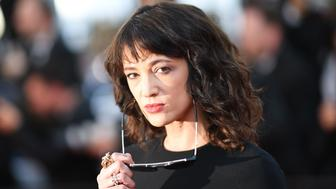 Italian actress Asia Argento poses as she arrives on May 19, 2018 for the closing ceremony and the screening of the film 'The Man Who Killed Don Quixote' at the 71st edition of the Cannes Film Festival in Cannes, southern France. (Photo by Loic VENANCE / AFP)        (Photo credit should read LOIC VENANCE/AFP/Getty Images)