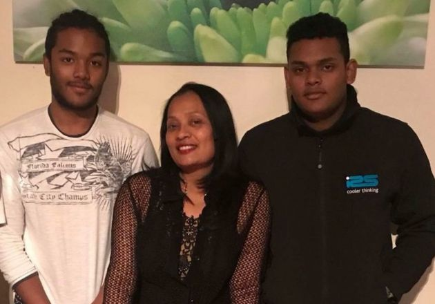 Brothers Sean Ragoobeer, 17, (left) Shane Ragoobeer, 18, and their mother Mary, who were victims of the...