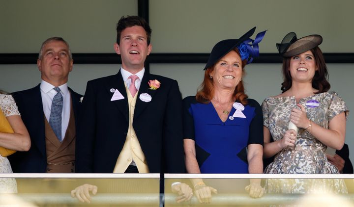 Prince Andrew, Duke of York, Jack Brooksbank, Sarah Ferguson, Duchess of York, and Princess Eugenie watch the racing as they attend the Royal Ascot at Ascot Racecourse on June 19, 2015.