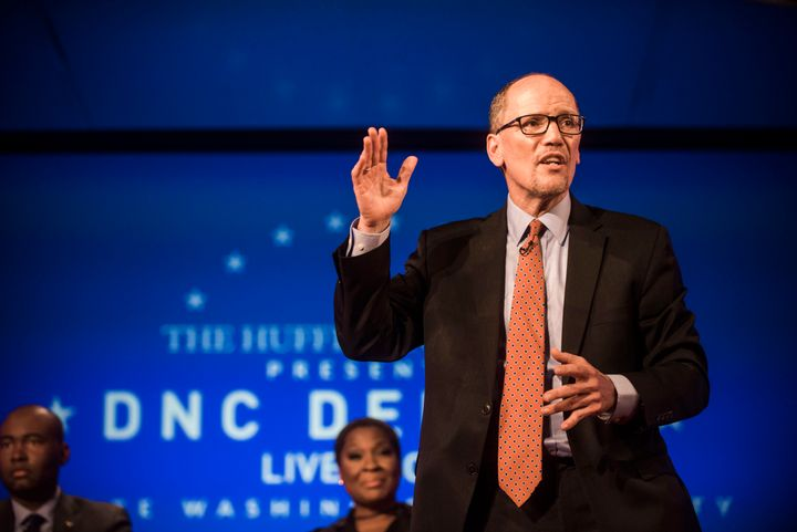 Tom Perez, now the chairman of the Democratic National Committee, at a debate for potential DNC heads hosted by HuffPost in W