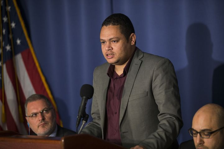 Ahmed Abdelbasit speaks out against executions in Egypt during a news conference at the National Press Club in Washington on