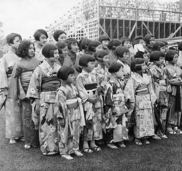 Japanese children in traditional garb start school in California in 1927.