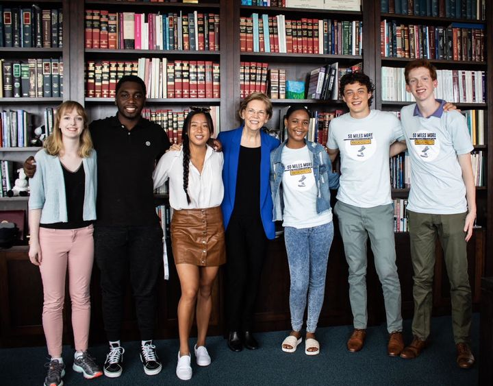 Students activists with 50 Miles More met with Sen. Elizabeth Warren (D-Mass.) on Monday. From left to right, Amelia Ryan, Tr