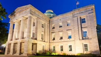 The Capitol Building In Raleigh, North Carolina, USA At Night.