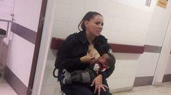 순찰 중에 배고픈 아기에게 젖을 물린 아르헨 경찰이 경사로