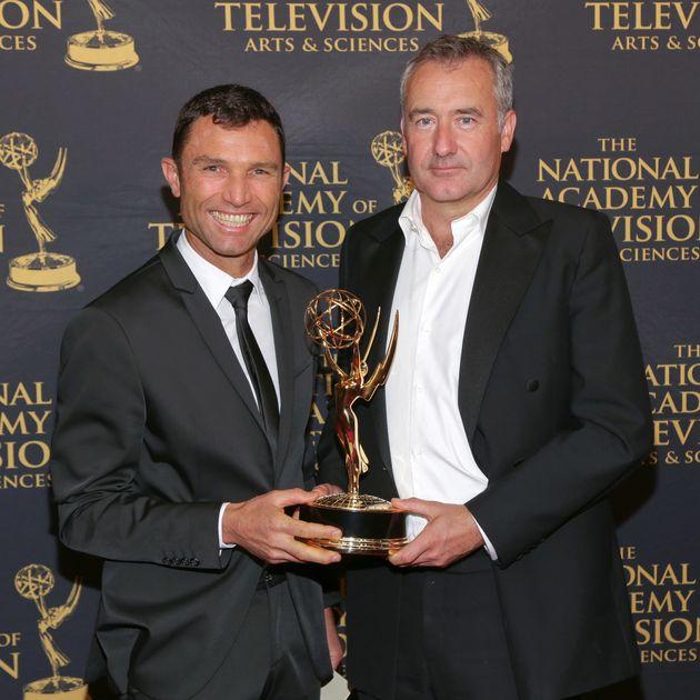 Presenter Colin Brazier (right) with cameramanGarwen