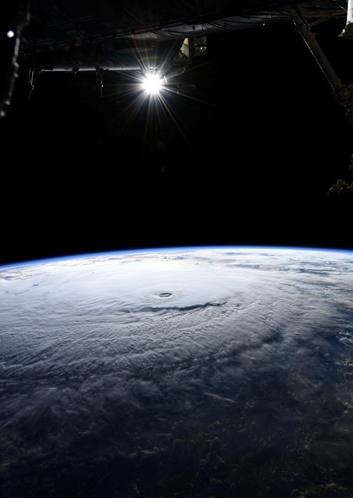 A photo taken from the International Space Station and moved on social media by astronaut Ricky Arnold shows Hurricane Lane i