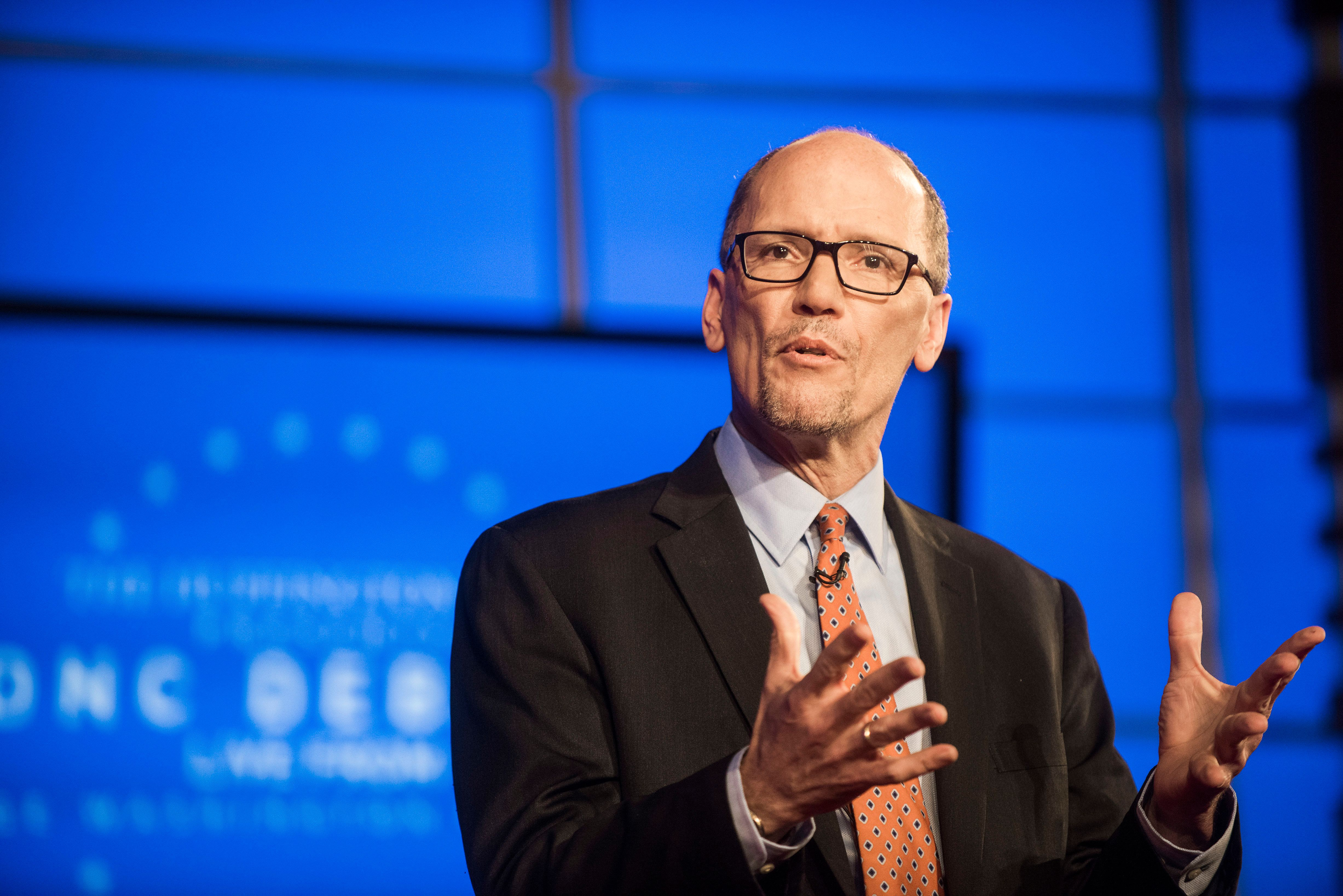 WASHINGTON, DC - JANUARY 18: Tom Perez speaks during a debate for Democratic National Committee chair hosted by the Huffington Post at George Washington University in Washington D.C. on Wednesday, Jan. 18, 2017. (Photo by Damon Dahlen, Huffington Post) *** Local Caption ***