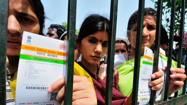 A line for Aadhaar cards in New