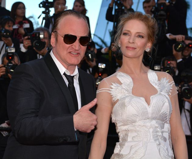 Thurman and director Quentin Tarantino at the 67th Cannes Film Festival in