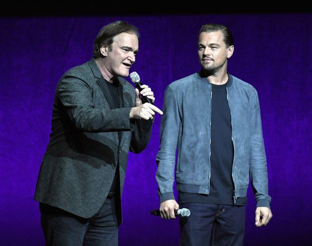 Quentin Tarantino and Leonardo DiCaprio speak onstage about
