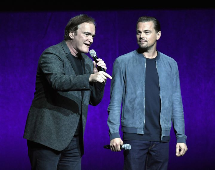 "Quentin Tarantino and Leonardo DiCaprio speak onstage about ""Once Upon a Time in Hollywood"" during CinemaCon 2018."