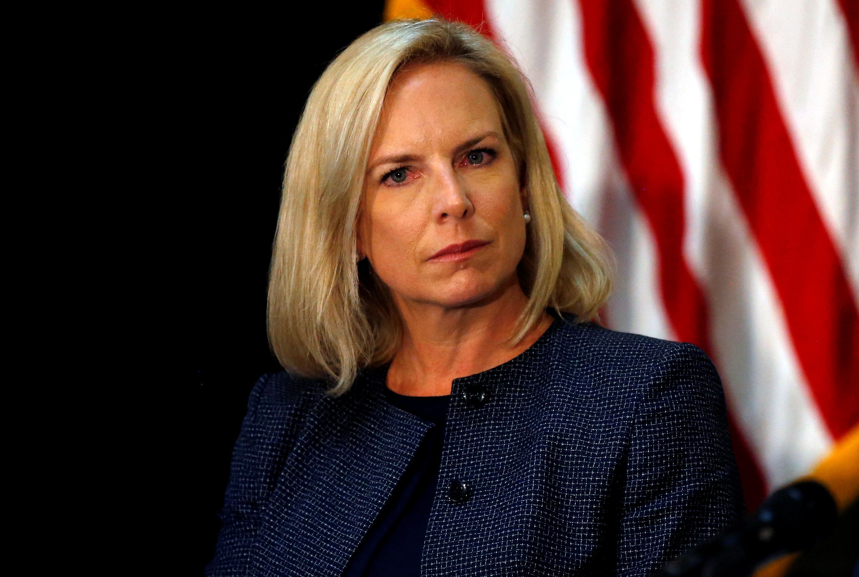 U.S. Homeland Security Secretary Kirstjen Nielsen takes part in a Federal Commission on School Safety meeting at the White House in Washington, D.C., U.S., August 16, 2018. REUTERS/Leah Millis