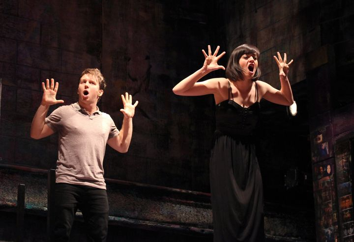 """When not in theater, Canonico(seen here in the 2012 off-Broadway musical, """"Bare"""") performs around the country with his"""