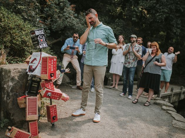 """""""My boyfriend i made out of boxes of wine took me to the garden and surprised me...guys i said..."""