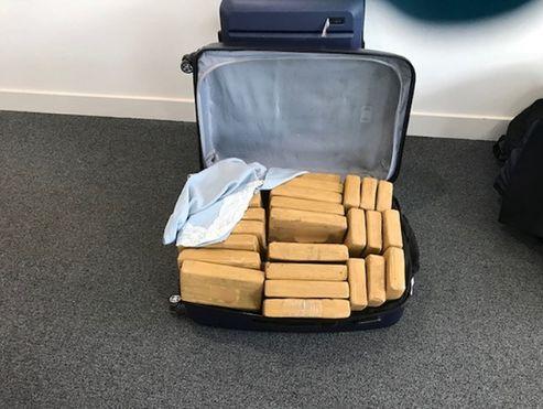 The suitcase full of cocaine seized at Farnborough