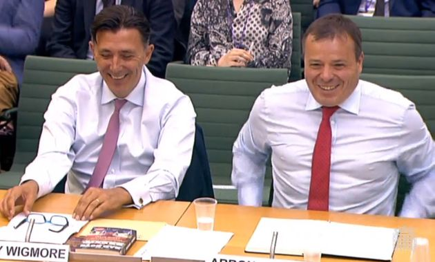 Andy Wigmore (left) and Arron Banks of Leave.EU give evidence to the Digital, Culture, Media and Sport Committee inquiry into fake news.